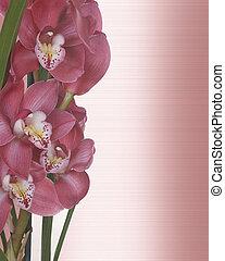 植物, 蘭花, 邊框, 邀請