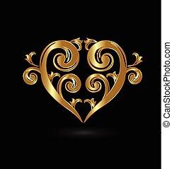 植物, 黃金, 心, 愛, 標識語