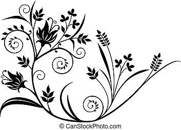 植物, 黑色, 元素