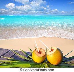 椰子, 加勒比海海灘, 雞尾酒, 天堂