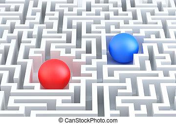 概念性, 球, maze., illustration., 二