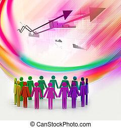 概念, 人們, 建立, 工作組, circle., 3d