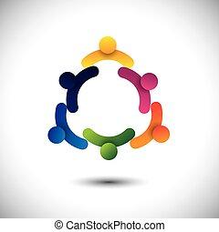 概念, 人們, 會議, 一起。, 孩子, &, 工人, 也, 社區, 環繞, 玩, 圖表, 組, 相互作用, 代表, 學校孩子, 雇員, 有, 矢量, 樂趣, 或者