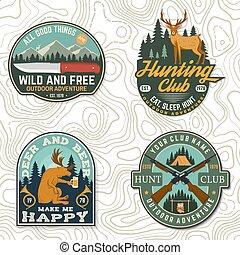 概念, 俱樂部, 野豬, badge., 打獵, 尋找, 襯衫, 矢量, 設計, 山, 葡萄酒, 槍, forest., 冒險, 熊, 象征, 鹿, 印刷品, 戶外, stamp., 集合, 印刷術, 獵人