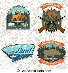 概念, 俱樂部, 野豬, badge., 打獵, 尋找, 襯衫, 矢量, 設計, 葡萄酒, 槍, forest., 冒險, 熊, 象征, 印刷品, 鹿, 戶外, stamp., 鴨子, 集合, 印刷術, 獵人