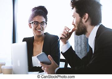 概念, 商業界人士, 工作, 合作, 配合, 一起。
