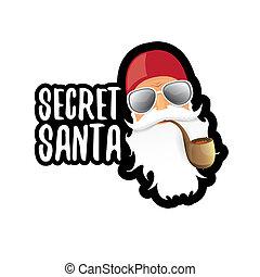概念, 太陽鏡, 禮物, 屠夫, 克勞斯, 想法, 插圖, 被隔离, 背景。, 秘密, 矢量, 聖誕老人, 白色, 標簽, 或者