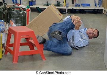 概念, 工作, 工人, 事故, 膝蓋, 傷害, 人