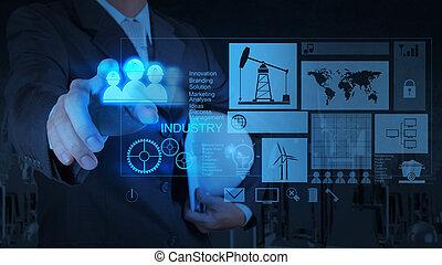 概念, 工作, 現代, 商人, 技術, 工程師