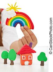 概念, 打掃, 鮮艷, 孩子, -, 手, 環境, 做, 數字, 藏品, 黏土