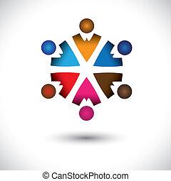 概念, 摘要, 一起, 活動, children(kids), 建築物, circle-, 組, 圖象, 孩子, 也, graphic., 友誼, 鮮艷, 插圖, 代表, 這, 多顏色, 等等, 矢量, 隊, 玩