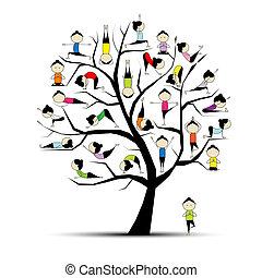 概念, 瑜伽, 實踐, 樹, 設計, 你