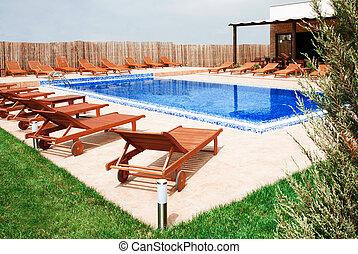 概念, 生活方式, 房子, 現代, -, 池, 游泳