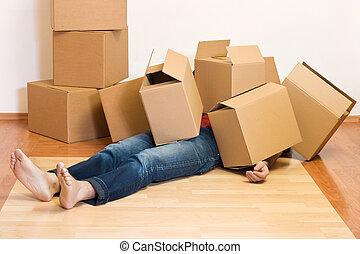 概念, -, 箱子, 移動, 蓋, 紙板, 人