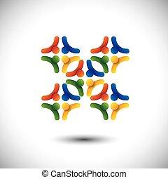 概念, 組, &, 人們, 社區, 統一, 矢量, 或者, 團結