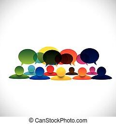 概念, 組, 人談論, 矢量, 雇員, 討論, 或者