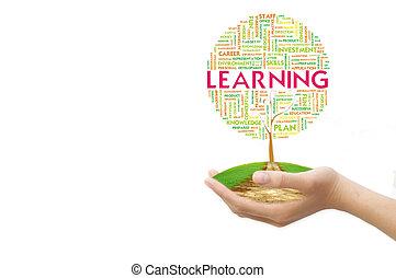 概念, 詞, 事務, 樹, 標簽, 背景, 草, 雲, 地面