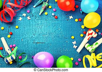 概念, 鮮艷, 框架, items., multicolor, 生日聚會, 愉快