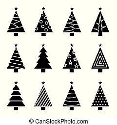 概念, set., 樹, 彙整, 矢量, 聖誕節, 圖象