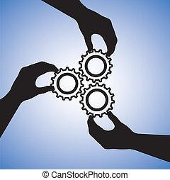 概念, success., 成功, 人們, 合作, 隊, 合作, 插圖, 包括, 黑色半面畫像, 圖表, 配合, 一起, 扣留手, 手, cogwheels, 表明, 加入