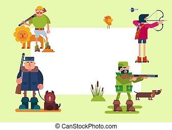 槍, 尋找, frame., 打獵, 獵人, 獅子, 獵人, 熊, animals., riffle, 矢量, 各種各樣, 森林, 字符, 鴨子, 射擊, 旅行隊, 卡通, 弓, illustrations.