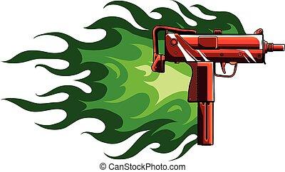 槍, 插圖, uzi, 火焰, 矢量