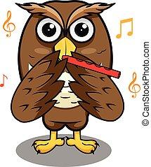 樂隊長笛, 演奏音樂, 表演者, 貓頭鷹