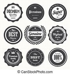 標籤, 徽章, 集合, retro, 葡萄酒