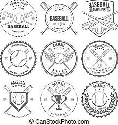 標籤, 葡萄酒, 集合, 棒球, 徽章