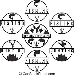 標籤, 葡萄酒, 集合, 釣魚, 打獵