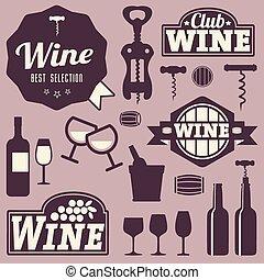 標籤, 酒, 彙整, 圖象