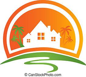 標識語, 房子, 太陽, 手掌