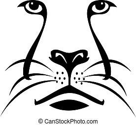 標識語, 獅子, 黑色半面畫像, 臉