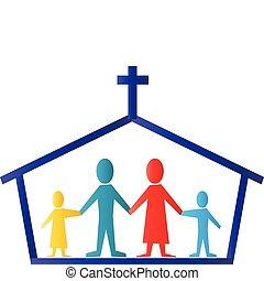 標識語, 矢量, 家庭, 教堂