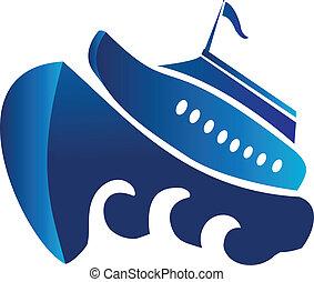 標識語, 矢量, 小船, 巡航