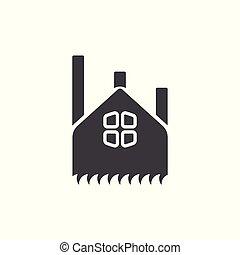 標識語, 符號, 矢量, 黑色半面畫像, 工廠