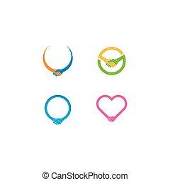 標識語, 簡單, 插圖, 圖象, 握手, 矢量