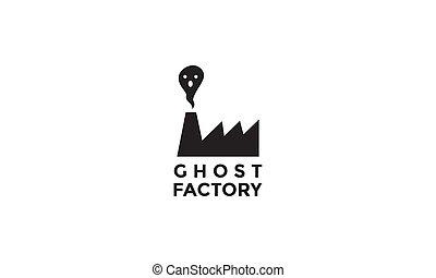 標識語, 鬼, 圖象, 矢量, 工廠, 插圖, 黑色半面畫像, 設計