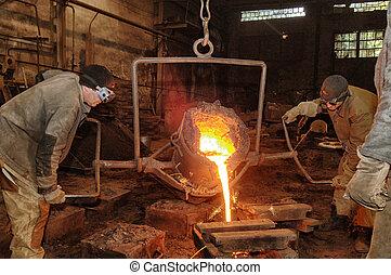 模具, 杓子, 鑄造廠, -, 金屬, 倒, 熔化