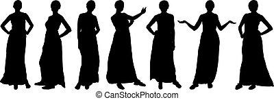 模型, 不同, 時裝, 女孩, poses., 黑色半面畫像, vector.