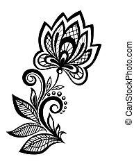 模式設計, 植物, 黑色, 白色, element.