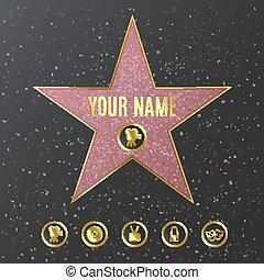 樣板, 步行, 命名, 現實, 好萊塢, -, 名聲, 星, mockup