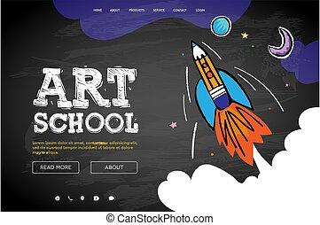 樣板, 网, 學校, 頁, 藝術, 圖像, 矢量, 設計