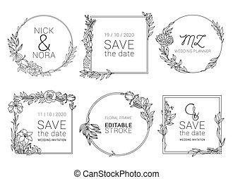 樣板, 花冠, 植物, 婚禮, 最小, 邀請, 矢量, design.