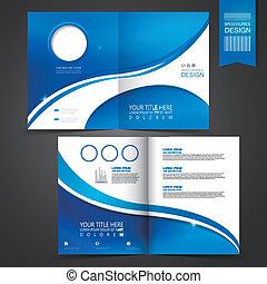 樣板, 藍色, 小冊子, 設計, 做廣告
