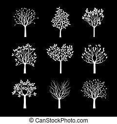 樹。, 白色, 矢量, illustration., 彙整