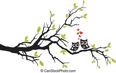 樹, 矢量, 愛, 貓頭鷹