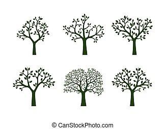 樹。, 矢量, 綠色, illustration., 彙整