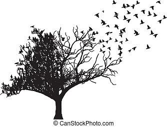 樹, 矢量, 藝術, 鳥