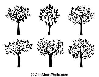 樹。, 矢量, 黑色, illustration., 彙整